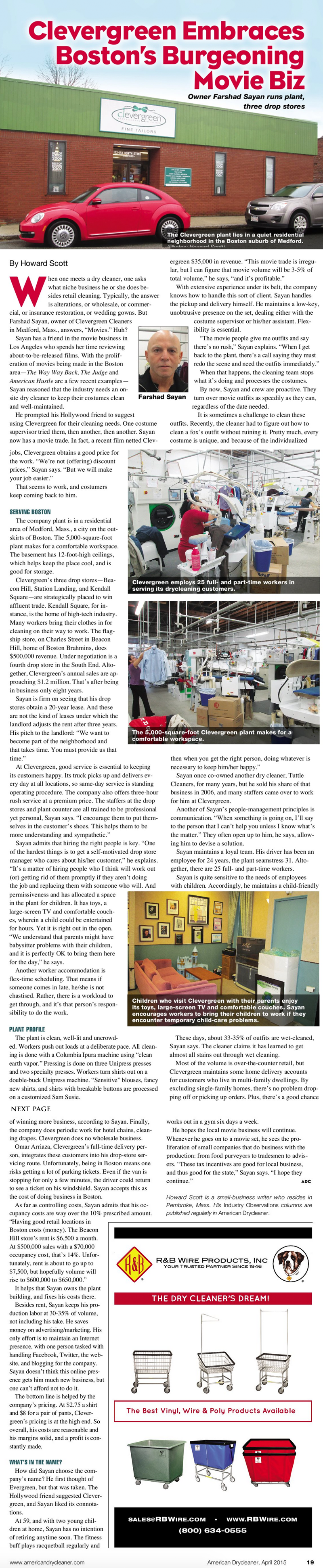 American Dry Cleaner Article about Boston locally owned Dry Cleaner Clevergreen Cleaners